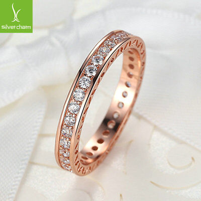 925 European Luxury Crystal Ring With 14k Gold Rose Ring For Women Size 7