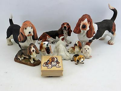 10 Basset Hound Figurine Lot Porcelain Resin Sizes Large and Small+ Rubber Stamp