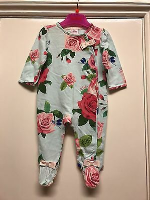 TED BAKER baby girl blue rose grow sleep suit all in one size 3-6 months