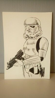 Storm Trooper Original Drawing. Fan-art A4. Star Wars