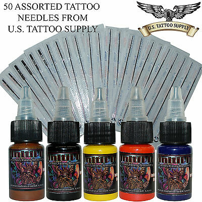50 Assorted Sterile Tattoo Needles RL RS RM and M1 + Infinitii 1/2oz Ink Set #3