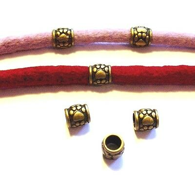 Set of 4 Bronze Coloured  PAW PRINT Dreadlock Dread Beads 10mm  6.3mm Hole DB5