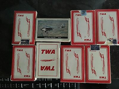Lot Of 7 Vintage TWA Playing Cards - plus 1 Ford Tri-Motor 1929