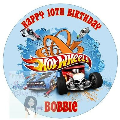 Hot Wheels Cars Cake Topper Personalised Round Edible Decoration