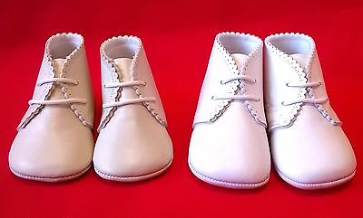 Cuquito Spanish christening boots shoes real leather ivory and white lace up new