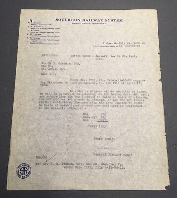 Southern Railway System Freight Traffic Department Letter July 28, 1932