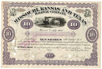 1886 Kansas Railway Co Stock Certificate Signed George Jay Gould [2219.0187]