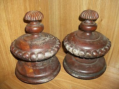 """2 Vintage Solid Wood Staircase Finial Newel Post Cap 6"""" Scalloped Design"""