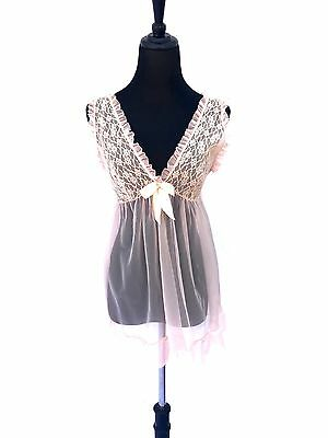 60's vintage frilly sheer lace baby doll MEDIUM