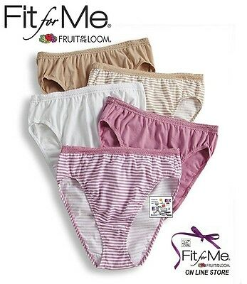 Fruit Of The Loom Fit For Me Cotton Stretch Hi-Cut Comfort Cover Lace Value Pk's