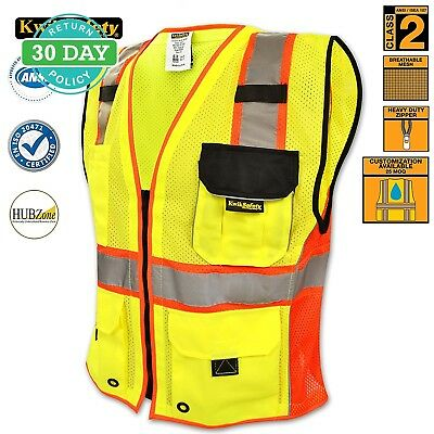 Reflective Safety Zip Vest High Vis Jacket Waistcoat with Pockets Mesh L/XL New