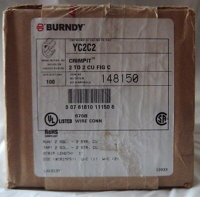 100 -Burndy YC2C2 Copper Crimpit Connectors 2/0 SOL-2 STR, 2 SOL-2 STR NIB