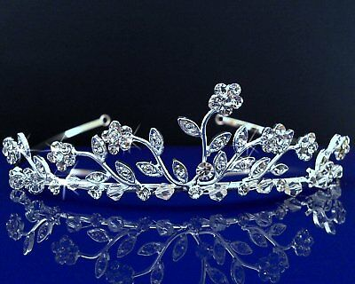 SparklyCrystal Bridal Floral Rhinestone Crystal Prom Wedding Crown Tiara 1598