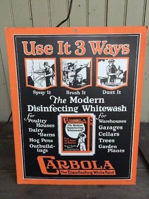 1920's Carbola White Wash Paint Easel Back Countertop Display Sign Exc!