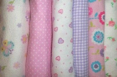 6 pack SMALL Fitted Cloth Diapers, Baby girl prints