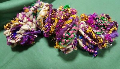 87gr Handspun Art Yarn Wool Sari Silk Yarn knitting crochet craft textile