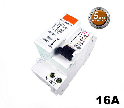 Tesla Safety Switch Circuit Breaker Combination RCBO 16 Amp 4.5kA Rated