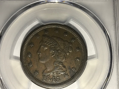 1845 1C Braided Hair Large Cent  PCGS XF40