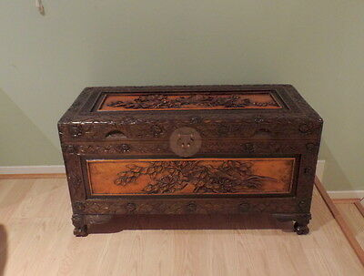 Large Carved Camphor Box~Chest~Storage~Asian~Oriental~Birds & Flowers