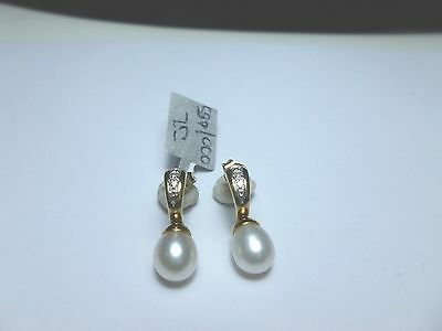 9ct Yellow Gold  ( 2 ) Diamond And Pearl Earrings