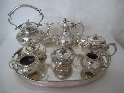 Magnificent C. 1900 Sheffield Hand Chased 10 Piece Silver Plate Tea Set