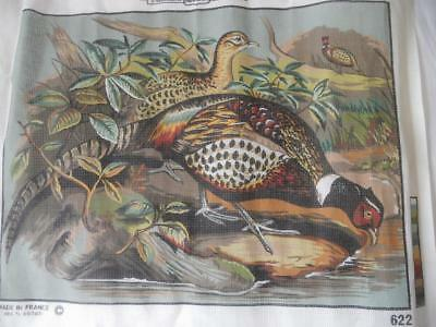 Vintage Margot Printed Tapestry Canvas Pheasants At Woodland Stream