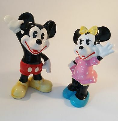 Mickey and Minnie Mouse Vintage Ceramic Figurines Japan Disney Productions Minty