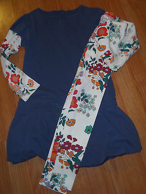 Gymboree Double Sleeve Dress with leggings Blue Floral Size 7-8
