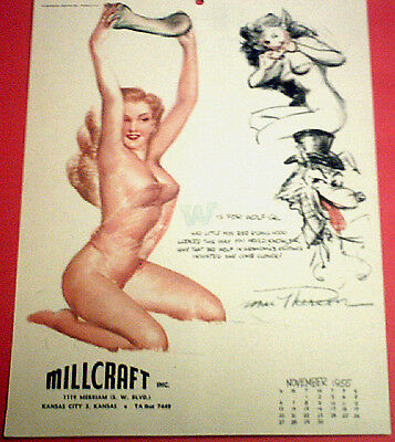 Macpherson November 1955 Pinup Calendar Page 'w Is For Wolf-Gal' Hunters Guide