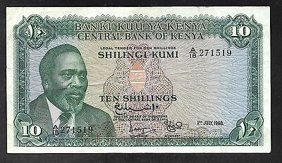 Kenya - 10 Shillings Note - 1968 - P2c - VF Condition