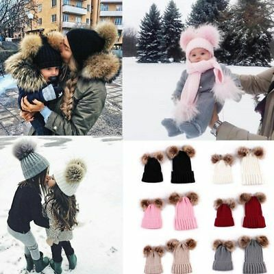2Pcs Women Mother & Baby Child Warm Winter Knit Beanie Baggy Hat Crochet Ski Cap