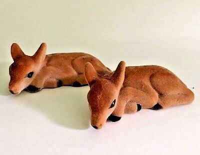 Flocked Deer Fawn Reindeer Figurines Plastic Felt Lot of Two