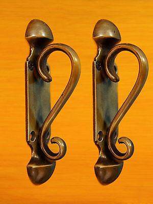 LOT OF 2 PCS Antique Vintage BRASS BIG KNOB VICTORIAN Arts Handle PULL Door KNOB