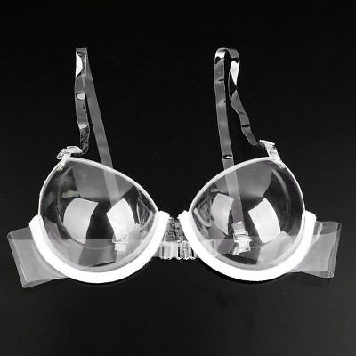 Fashion Women Transparent Clear Push Up Strapless Invisible Bra Underwear 3/4Cup