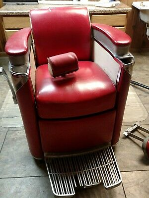 Antique Orig 1950 Barber Chair PRESIDENT by Koken RED as seen in The Godfather