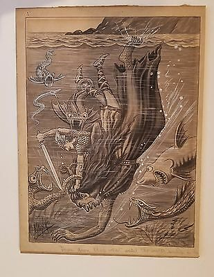 BEOWULF ORIGINAL ART BY MUNRO 1920's Highly detailed classic L@@k