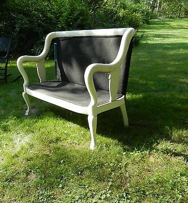 Antiq French Country Bentwood Settee Hand Carved Paw Feet Orig Horse Hair Cover