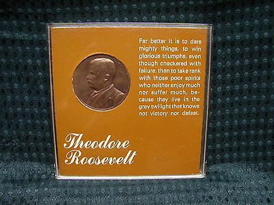 Vintage President Theodore Roosevelt Bronze Medal Creative Packaging Co. 1 1/4""