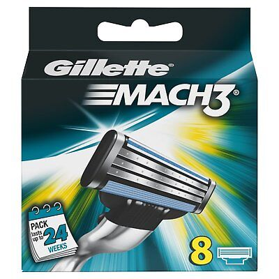 Gillette Mach3 Refill Razor Blades - w/ Anti-Friction & Microfins - Pack of 8