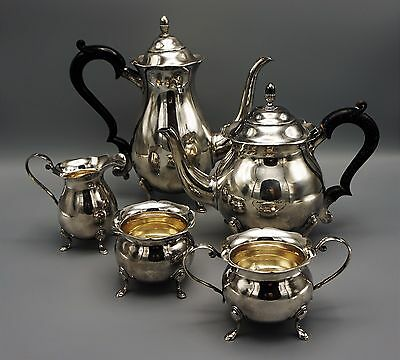 Old Japanese 5 Piece Magnificent Sterling Silver Tea Set