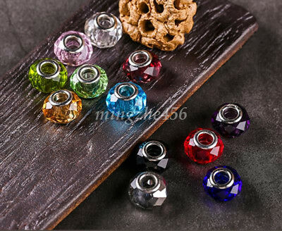 5X Multi-Faceted Murano Glass Crystal Loose Spacer Beads Silver Fit DIY Bracelet