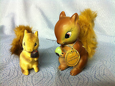 Vintage Squirrel with Fur Tail and Chappie The Furry Chipmunk