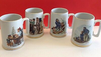 """Norman Rockwell Nautical Set Of 4 Nautical Mugs """"BRAVING THE STORM"""" + More"""