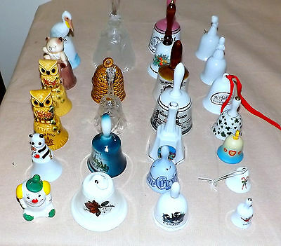 Lot of 35 Vintage  Hand Bells Porcelain, Holiday, & Metal Bells