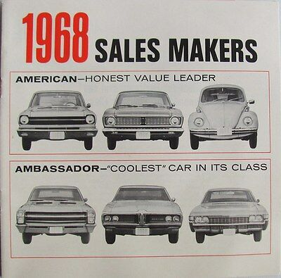 1968 American Motors American & Ambassador  Comparisons  Brochure FOR SALESMEN