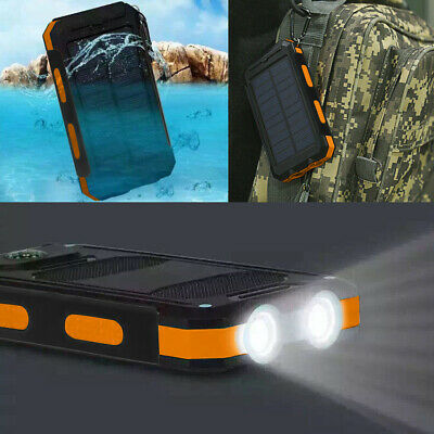 Waterproof 500000mAh 2 USB Portable Solar Battery Charger Solar Power Bank KK