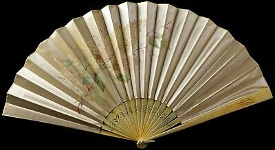 Antique 19th Cen. Hand Painted Silk Japanese Fan - NO RESERVE Cherry Blossoms