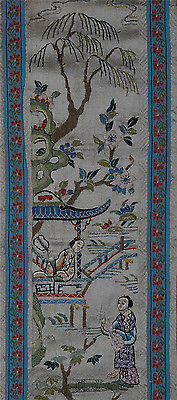 Antique Chinese Silk Embroidery Panel Sleeve Band Figures Landscape Brocade