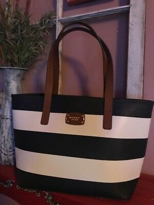 Michael Kors Jet Set Tote Bag Blue And White Brown Leather Straps