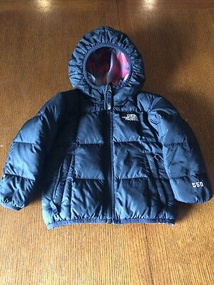 Black/Red-Black-Gray Plaid ReversIble North Face 550 Unisex Down Coat Size 2T
